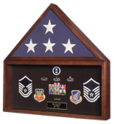 Burial Flag and Medal Display case, Flag and Document Holder