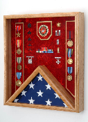 US Marine Corps Flag medal display case