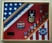 Flag Shadow Box, American flag display case, Flag and medal display case, coast guard flag and medals display