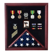 4 x 6 Flag Display Case Combination For Medals and Photos, flag case for 4x6 flag