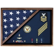Flag Memorial Case - Military Flag case for Burial Flag and Medals