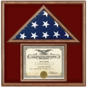 Walnut 3 X 5 Flag Memorial Case with Document Holder