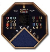 Retirement flag and medals display cases