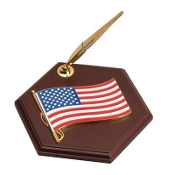 Pen Holder with American Flag Medallion