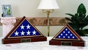American Flag And Pedestal Display Case