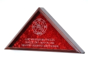 Firefighter Burial Flag Display with engraved Maltese Cross