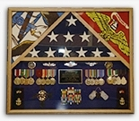 3 Flags Military Shadow Box flag case