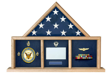 Flag and Medal Display Case, Shadow Box, Combination Flag/Medal