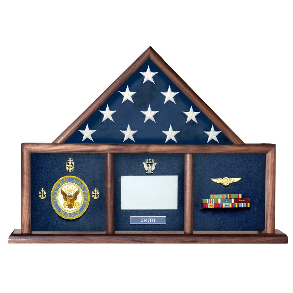 3 Bay Mantle Military Shadow Box Flag Perfect Size Cases