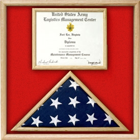 US Marine Corp Flag and Certificate Display Case/ award case