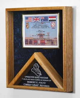 Memorial Flag and certificate Display Case Shadow Box Our Military flag and medal display case is made of finely crafted wood with an elegant