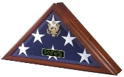 Flag Display Case with Front Opening, front open flag case Available in Heirloom Walnut or Cherry Finish Embossed With or Without The Great Seal of the United States