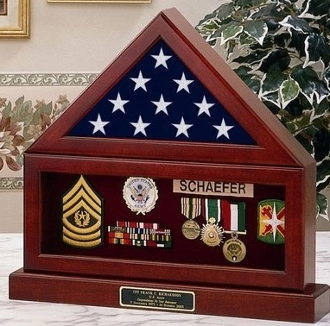 flag and pedestal display cases