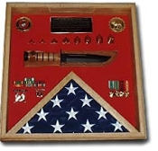 flag and a knife display case, american flag case, american flag and a knife display case