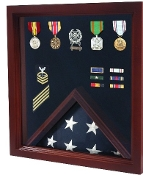 Military Flag and Medal Display Case, Military Shadow Box Cherry Wood
