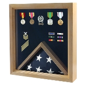Flag and Medal Display Case - Military Shadow Box - Oak