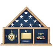 Oak 5 X 9.5 Flag Memorial Case - Three Bay