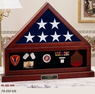 Combination Flag Display Case Shadow Box, Flag medal and pedestal