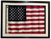 "Framed Size: 42X32"" Framed under real glass,waved flag in 3d shadow box Framed Real Cloth Cotton Embroidered American Flag, USA Flag in Shadow Box Modern Frame, Wall Art, Décor"