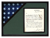 Black Shadow box to hold a 3'X5' flag with 8.5'x11' certificate