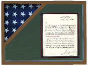 Shadow box to hold a flag with 8.5 x 11 certificate
