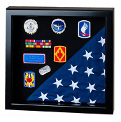 Flag Display Case showcases both the flag and military awards, Black Flag and Medal Display case