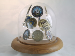 Coin Display Glass Dome for challenge Coin, 8 coins Display case