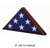 The Veteran flag display case is a solid maple wood American made flag case with a Dark Cherry finish.