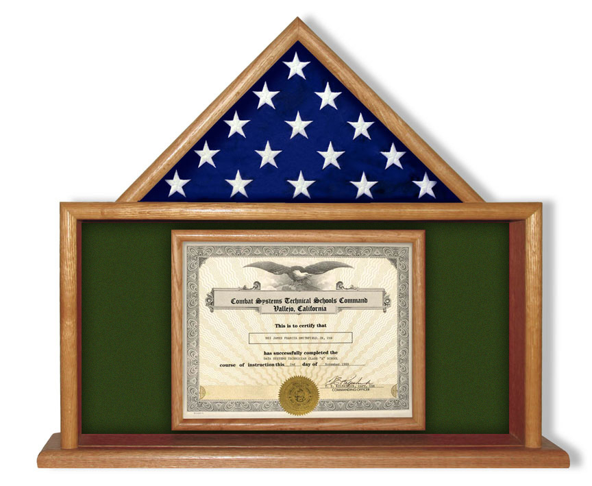 USMC Flag and Certificate Display Case