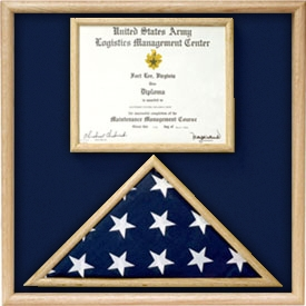 US MC Flag and certificate Display case