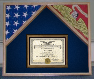 horizontal 2 flags and certificate