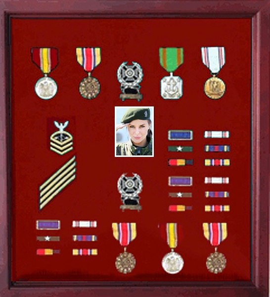 Photo medal shadowcase, Photo medal display case