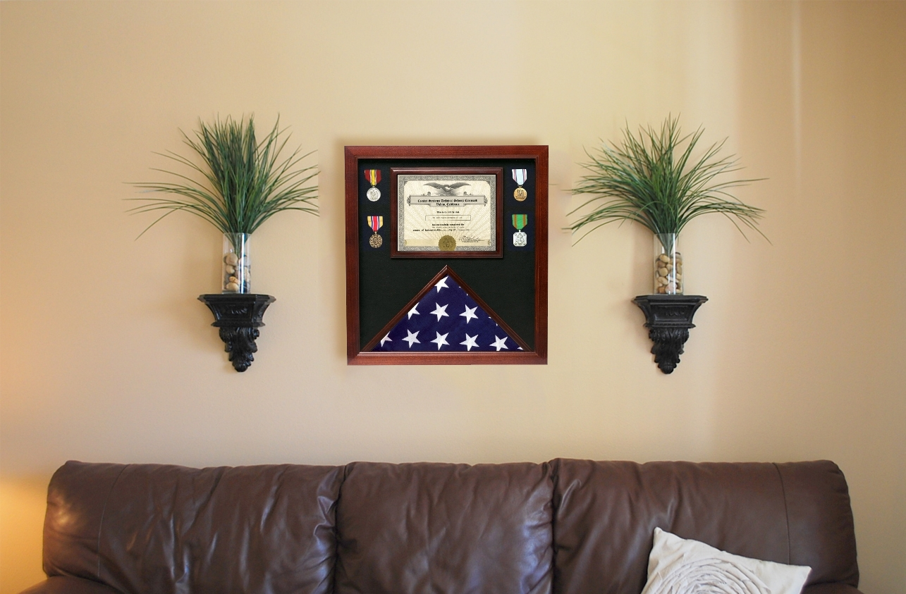 Flag and Certificate Case     Flag display cases with certificate holder